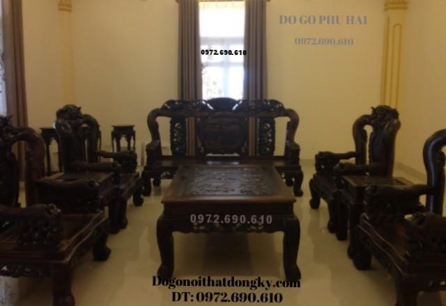 Bàn ghế đồng kỵ gỗ mun kiểu phượng công V12 B103