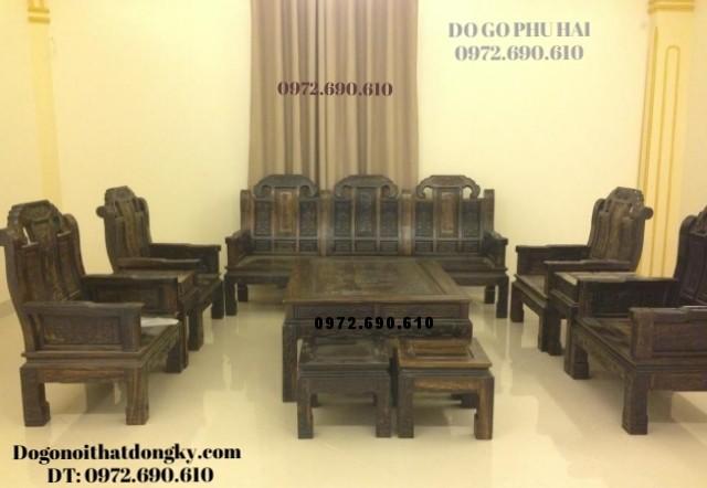 Sản xuất Bộ bàn ghế gỗ đồng kỵ Như ý gỗ mun B110