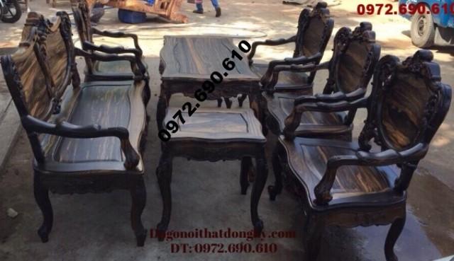 Bàn ghế đẹp kiểu Pháp gỗ mun Louis B121