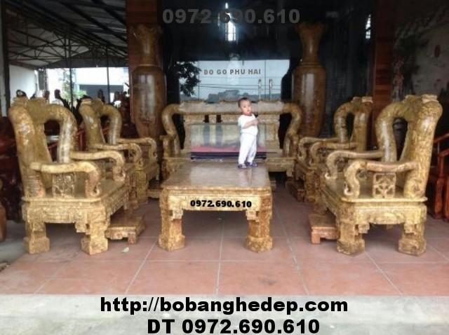 Bộ bàn ghế đẹp ( gỗ ngọc nghiến ) Quốc triện Vai 16 B123