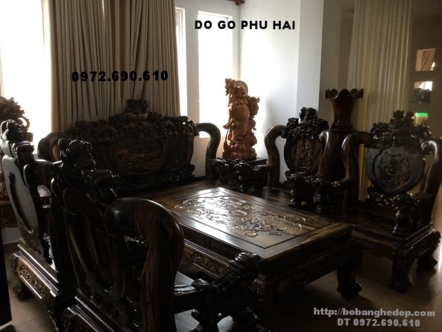 Bộ bàn ghế đồng kỵ đẹp gỗ mun kiểu nghê đỉnh B126