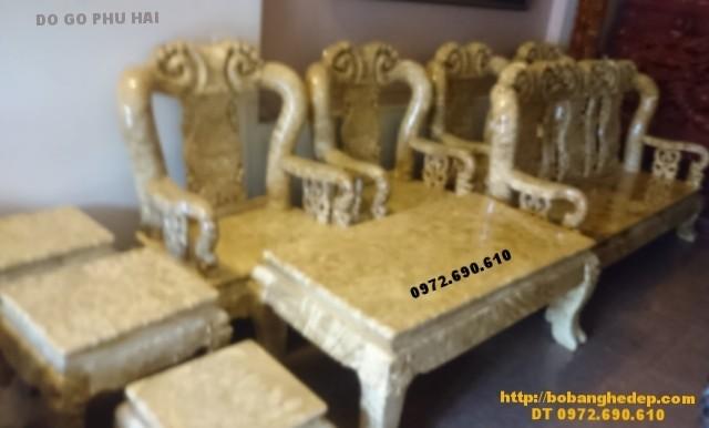 Bộ bàn ghế gỗ nu nghiến mặt liền do go phu hai V12 B128