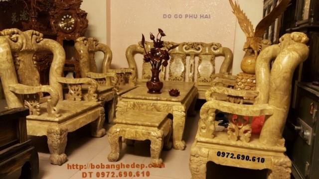 Bộ bàn ghế đẹp hiếm có, Bộ gỗ nu nghiến mặt liền B129
