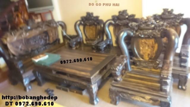Bộ bàn ghế đẹp, Bộ nghê đỉnh gỗ mun vai 14cm B130