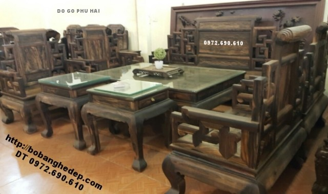 Bộ bàn ghế gỗ mun đẹp, Bộ sơn thủy do go dong ky B135