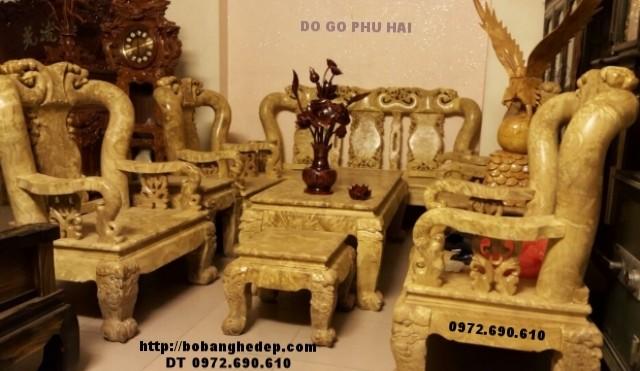 Bộ bàn ghế gỗ nu nghiến dành cho đại gia vai 14cm B136
