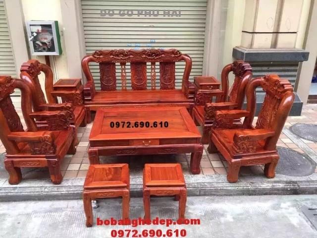 Nội thất đồng kỵ, Bộ bàn ghế đồng kỵ gỗ sơn huyết quoc voi V12 B156