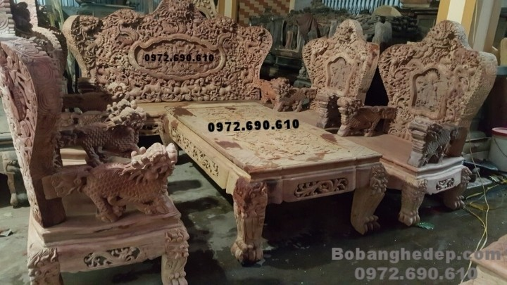 Bộ bàn ghế phòng khách đẹp, Bộ Bát mã gỗ hương đá B159