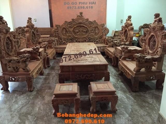 Bộ bàn ghế đẹp kiểu cổ gỗ đinh hương, Bộ Rồng Bảo Đỉnh B160
