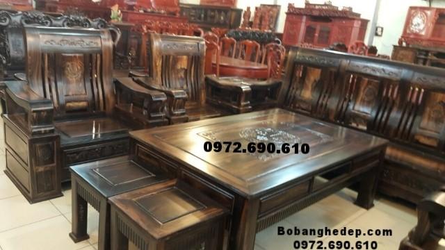 Bộ bàn ghế gỗ mun hoa cho người sành chơi B166