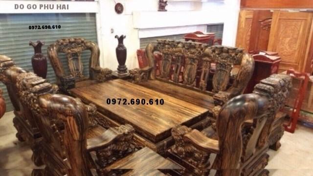 Bộ bàn ghế đồng kỵ gỗ mun cho căn hộ sang trọng B167