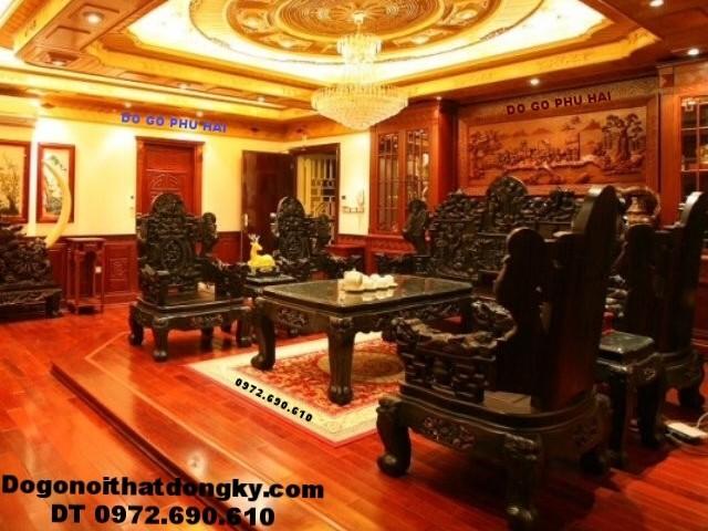 Bộ bàn ghế đẹp cho giới quí tộc kểu Tam đa gỗ mun B171