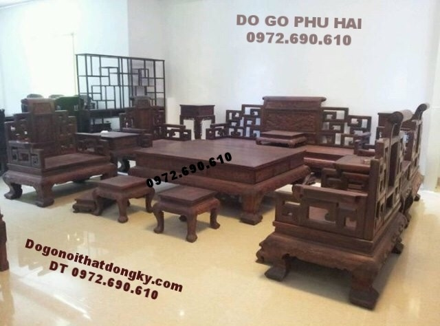 Bộ bàn ghế phong khách đẹp kiểu Sơn thủy gỗ gụ B.172