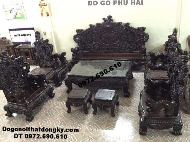 Bộ bàn ghế đẹp gỗ trắc kiểu Cửu long bảo đỉnh B.173