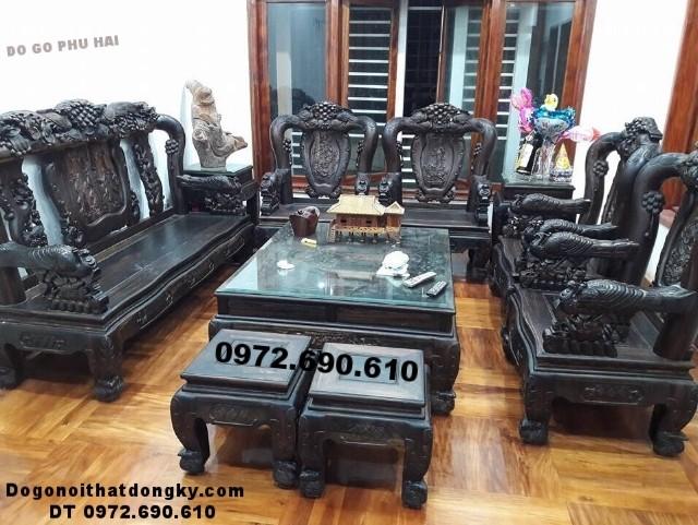 Bộ bàn ghế gỗ trắc hiếm vai 14cm chỉ đại gia mới có B.178