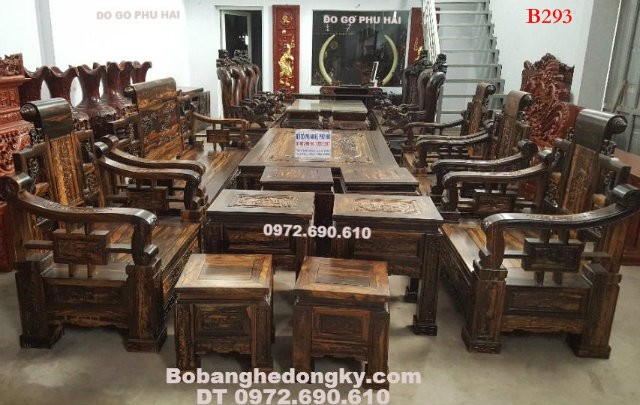 Bộ bàn ghế gỗ mun đẹp