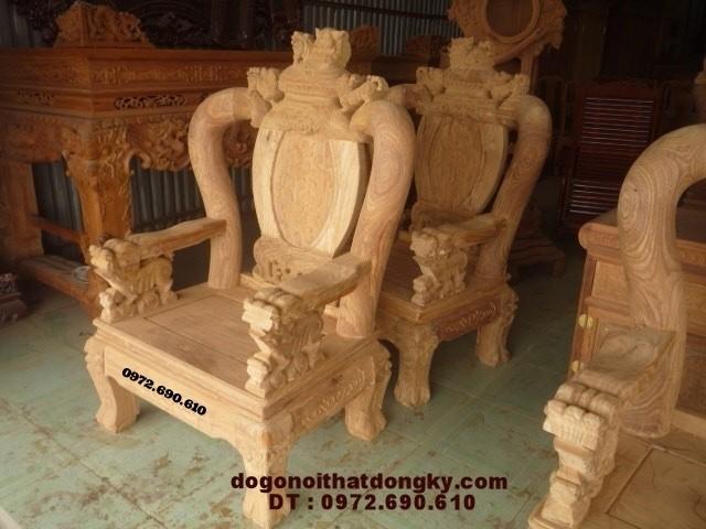 Bàn ghế phòng khách kiểu đỉnh rồng gỗ hương vai 12 BG-46
