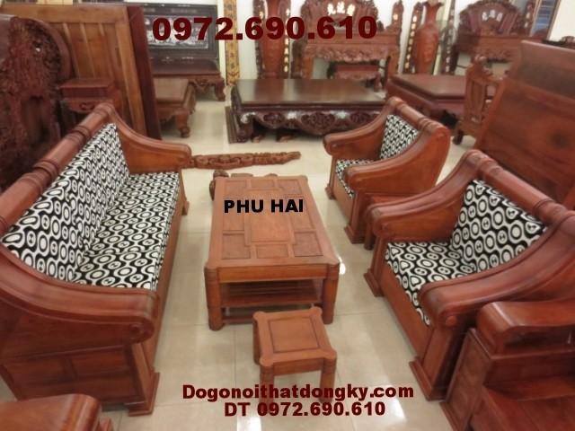 Bộ bàn ghế gỗ hương kiểu hôp trống HT<>52