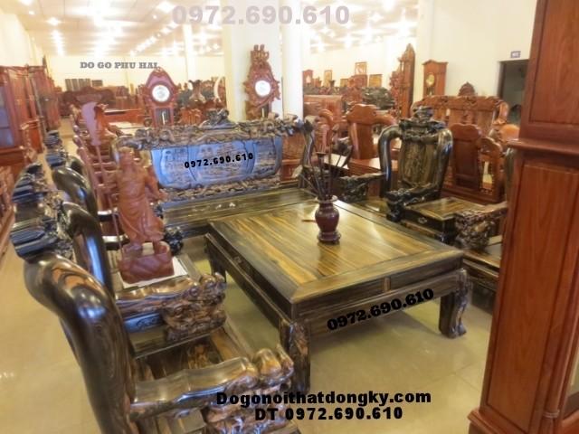 Bộ bàn ghế phòng khách mẫu đỉnh rồng gỗ mun DR<>61