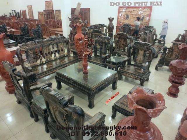 Bộ bàn ghế phòng khách quốc voi gỗ mun QV<>65