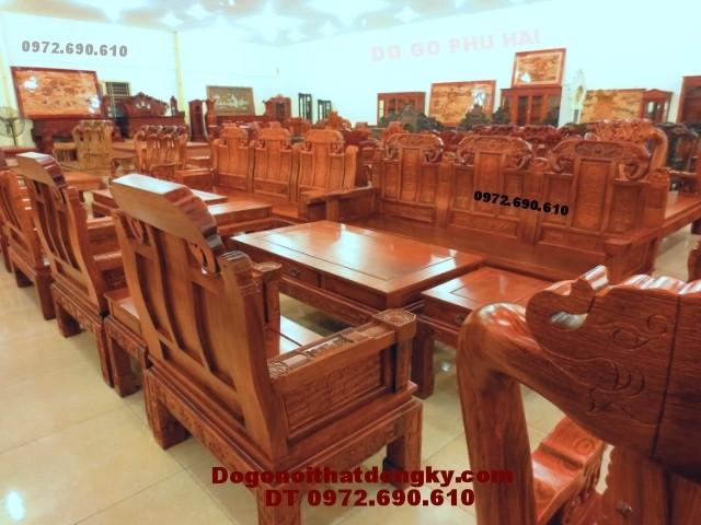 Bộ bàn ghế phòng khách đẹp gỗ hương kiểu như ý NY<>66