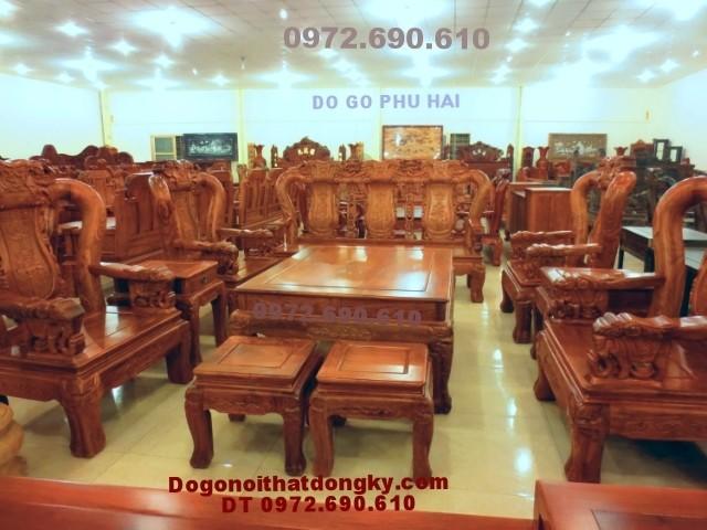 Bộ bàn ghế đẹp quốc voi gỗ hương vai 12 QV<>67