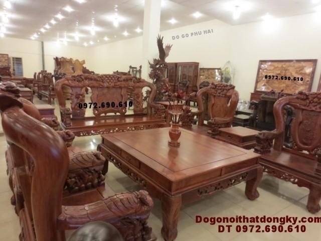Bộ bàn ghế gỗ hương đẹp mẫu phượng công PC<>69