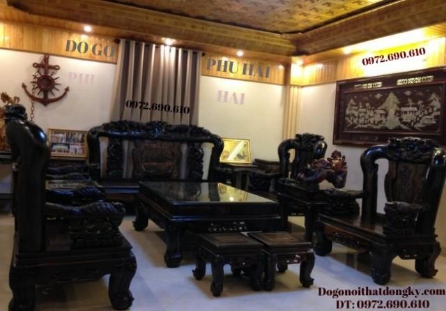 Bàn ghế đồng kỵ gỗ mun sừng kiểu Công trĩ B97