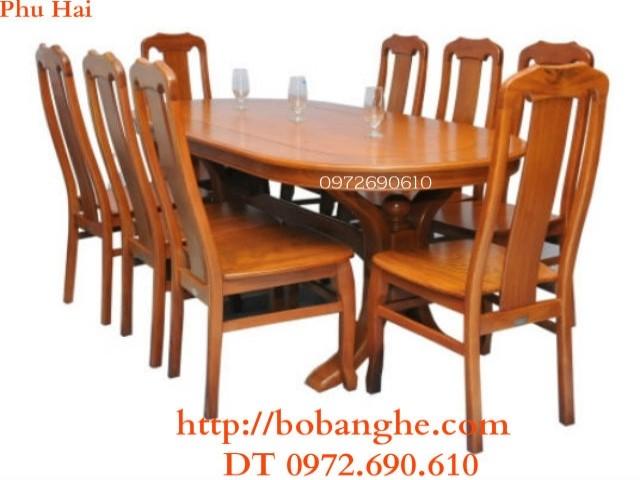 Bộ bàn ghế phòng ăn đẹp bàn bầu dục BA15