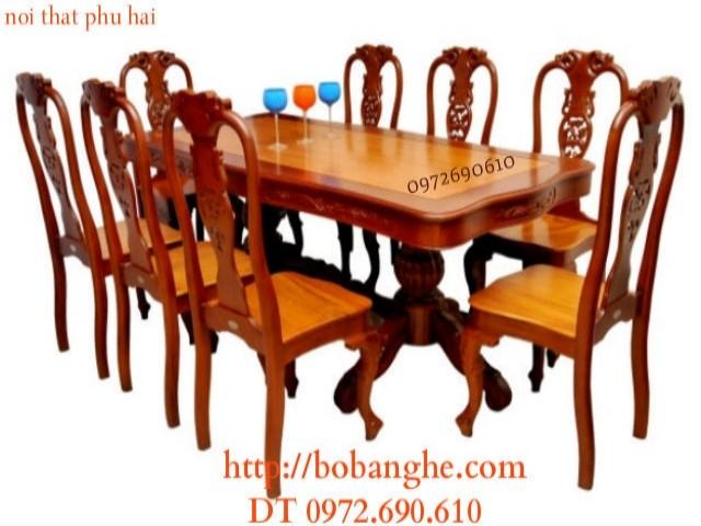 Bộ bàn ghế ăn 08 ghế Kiểu Bàn Chữ Nhật BA27