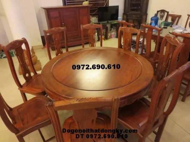 Bộ bàn ghế phòng ăn bàn tròn đồ gỗ đồng kỵ BA<>40