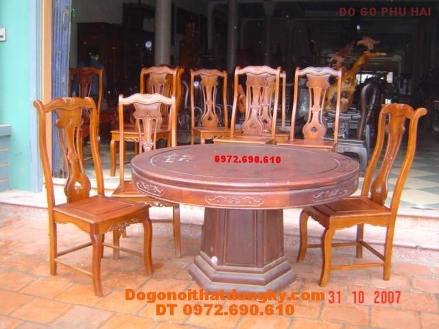 Bộ bàn ăn Kiểu bàn Tròn, Đồ gỗ Đồng Kỵ BT35