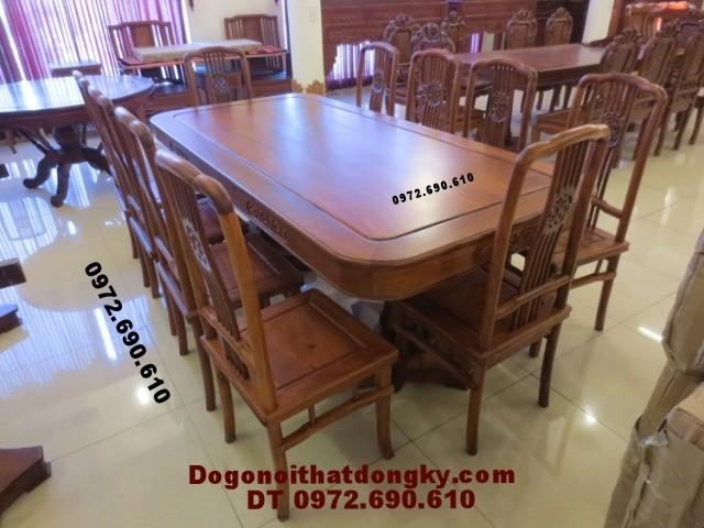 Bộ bàn ăn đẹp Bàn Chữ Nhật gỗ hương BA<>41