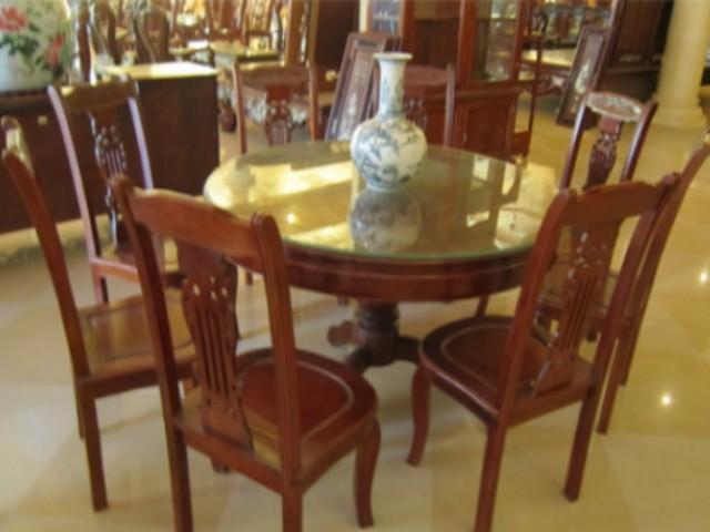 Bộ bàn ăn gỗ gụ,Đồ gỗ Phú Hải,Kiểu bàn Tròn BT37