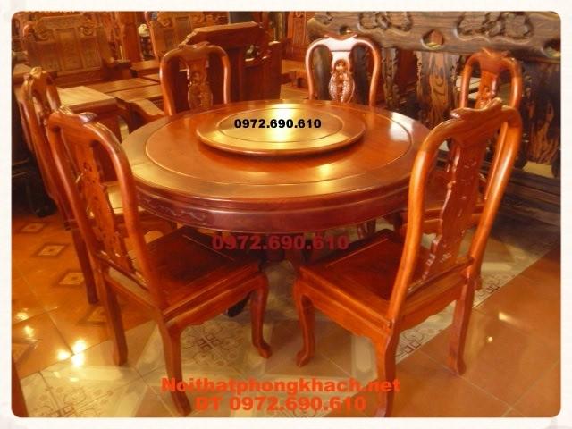 Bộ bàn ăn gỗ hương, bàn Tròn Xoay BT33