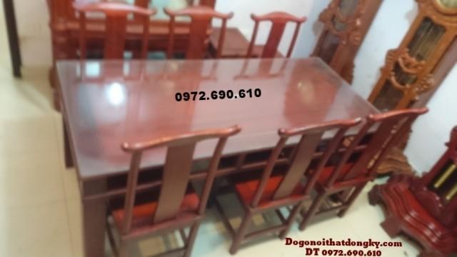 Bộ bàn ghế phòng ăn đẹp bàn chữ nhật BA55