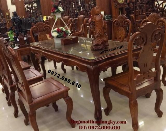 Bộ bàn ghế ( phòng ăn ) gỗ gụ gỗ hương BA58