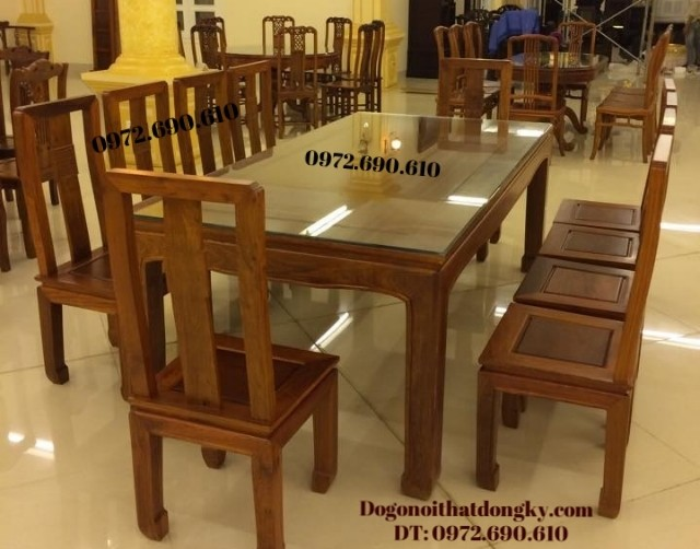 Bàn ghế phòng ăn đẹp bàn chữ nhật 8 ghế BA59