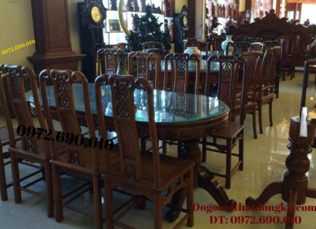 Sản xuất Bộ bàn ăn đẹp gỗ gụ bàn bầu dục BA66