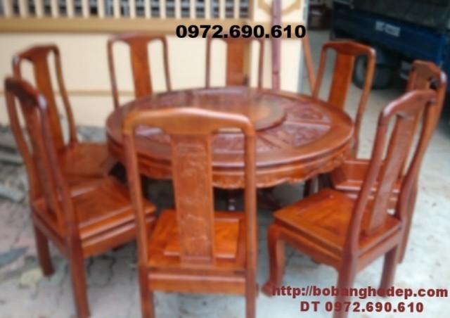 Bộ bàn ăn đẹp bàn tròn xoay 8 ghế gỗ gụ BA72