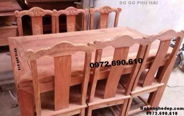 Bàn ghế phòng ăn bàn chữ nhật 6 ghế do go dong ky BA80