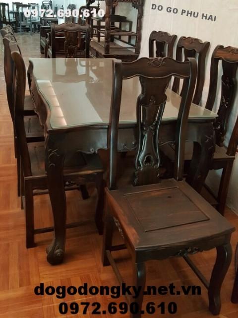 Bộ bàn ghế ăn đẹp chất liệu gỗ mun bàn chữ nhật BA.88
