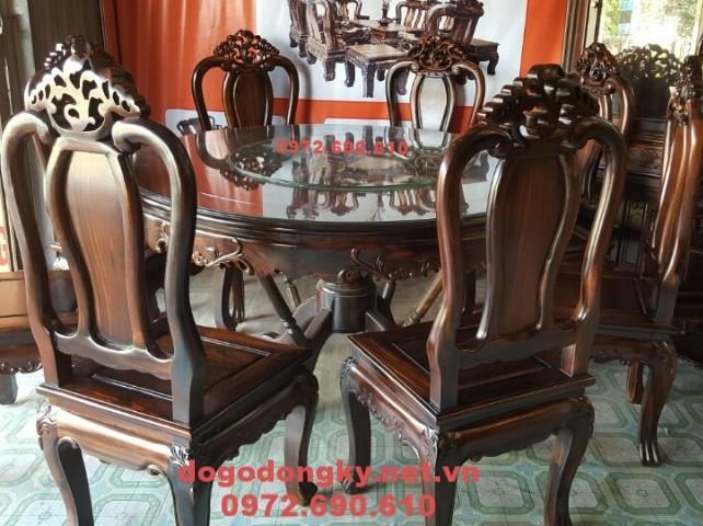 Mẫu bộ bàn ăn đẹp gỗ mun kiểu bàn tròn xoay BA.89