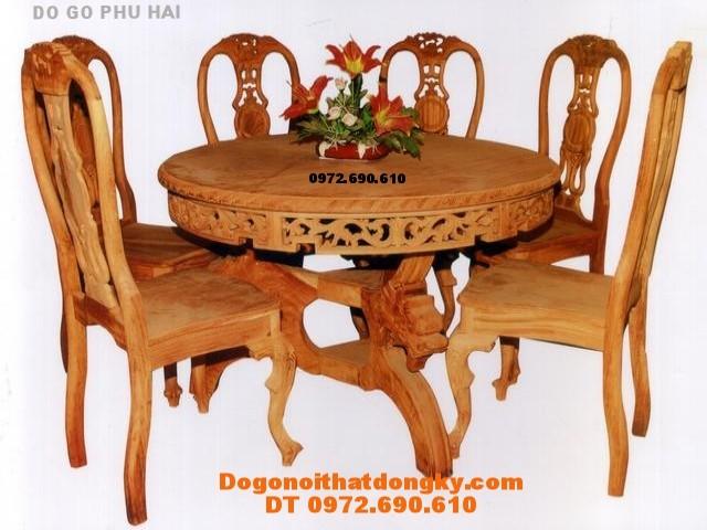 Bộ bàn ăn Kiểu Nan Quạt bàn Tròn BT9-7