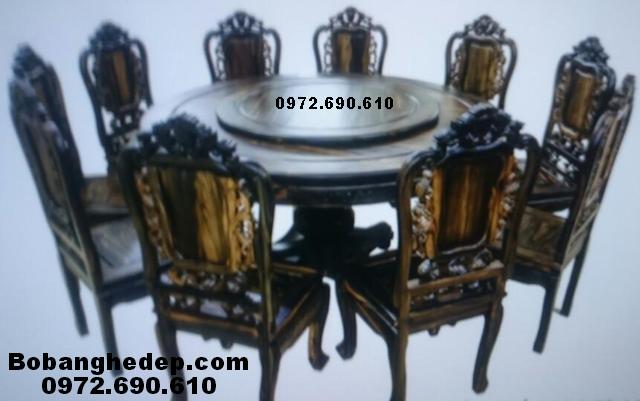 Bộ bàn ăn gỗ mun bàn tròn xoay