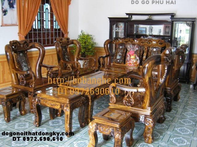 Bàn ghế phòng khách Minh quốc đào khảm ốc GM1