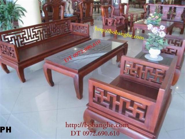 Bộ bàn ghế gỗ gụ kiểu Triện Vạn TV3