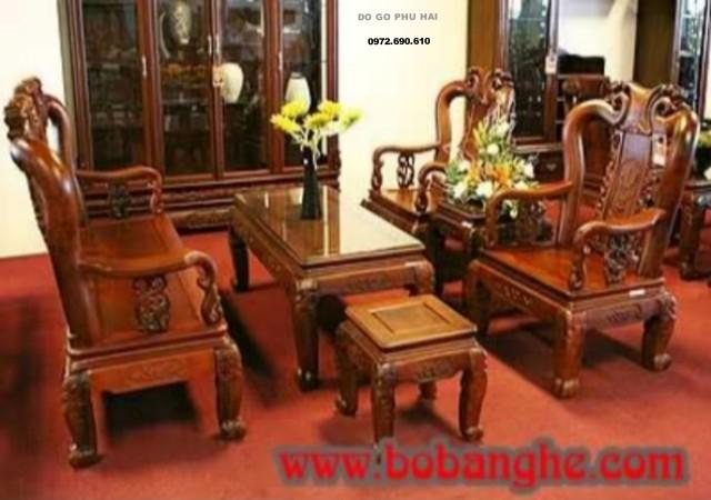 Bàn ghế gỗ gụ minh quốc đào cột 9 G04