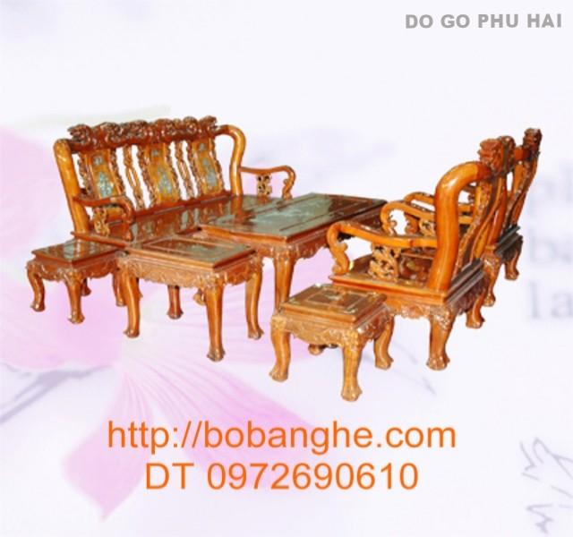 Bàn ghế gỗ gụ Quốc Đào khảm GK01