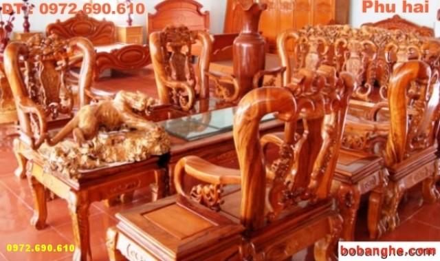 Bộ bàn ghế gỗ hương Minh quốc Chim C10 MQC01